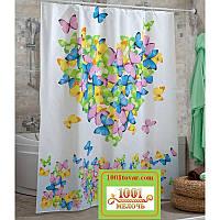 "Шторка для ванной комнаты ""LOVE"" (Сердце с бабочками), Panel, Miranda. Производство Турция"