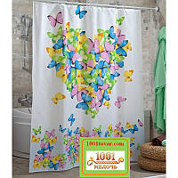 "Шторка для ванной комнаты ""LOVE"" (Сердце с бабочками), Panel, Miranda. Производство Турция, фото 1"