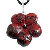Яшма красная, серебро 925, кулон цветочек