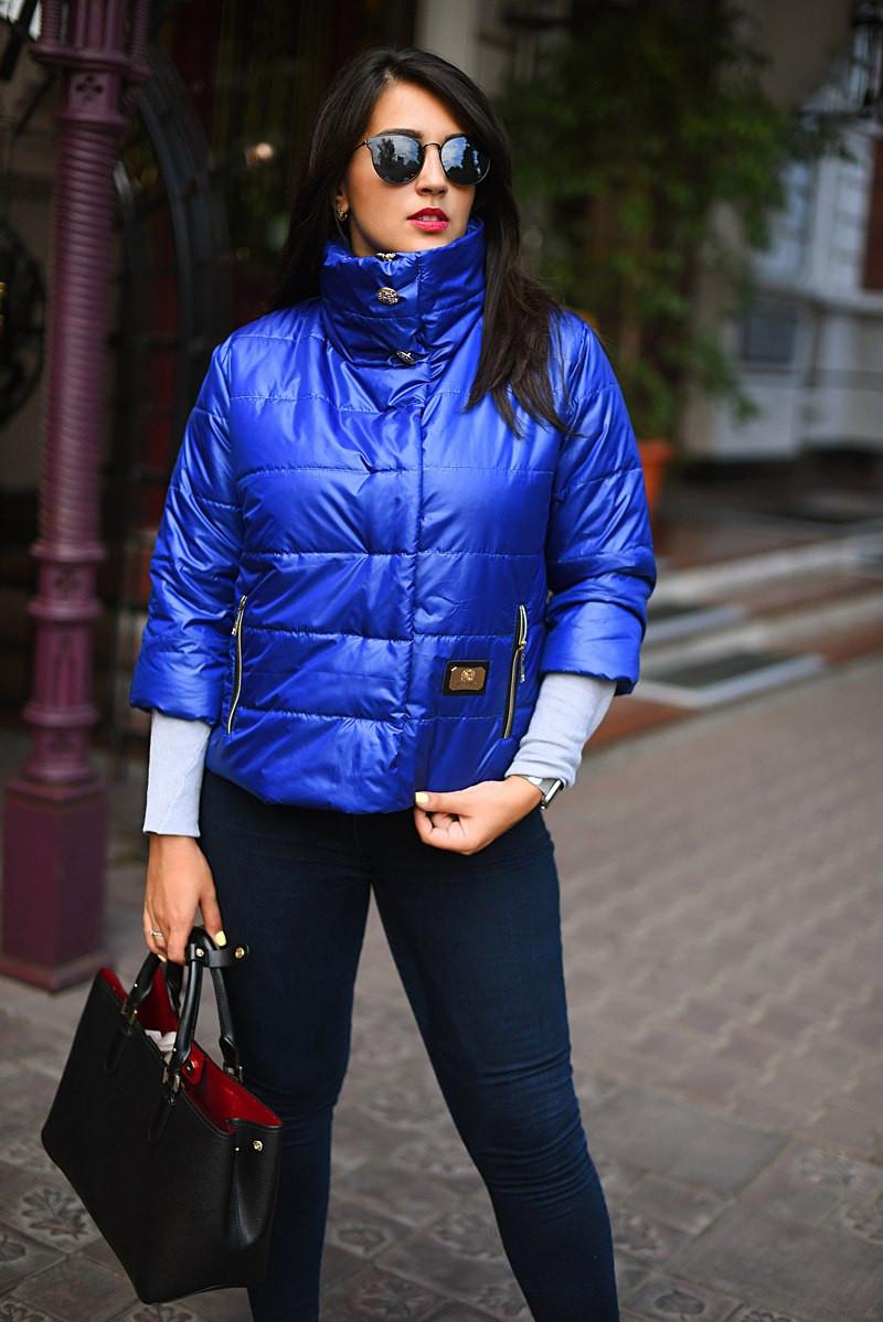 """Женская куртка рукав 3/4 на синтепоне в больших размерах 7075-1 """"Стойка Кнопки"""" в расцветках"""