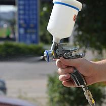 HVLP II Профессиональный краскораспылитель 1.3мм, верхний пластиковый бачок 600 мл INTERTOOL PT-0105, фото 3