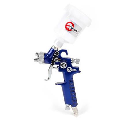 Пистолет покрасочный пневматический HVLP мини , форсунка 0.8мм, верхняя подача, бачок 125мл, 3.0bar. INTERTOOL PT-0101, фото 2