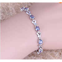 Женский серебряный браслет на руку с мистик топазом
