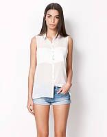 Оригинал. Распродажа. Белая рубашка Bershka с принтом на спине AB90102