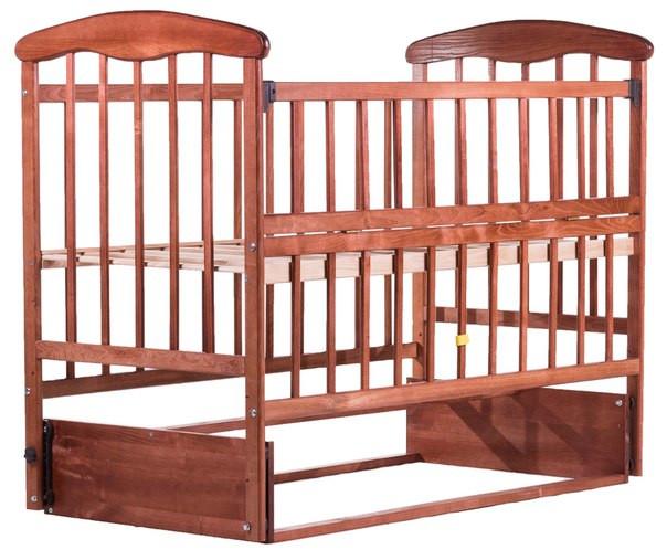 """Дитяче ліжечко """"Наталка"""" на  маятнику темне з відкидною боковинкою"""