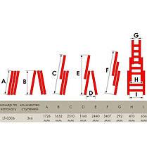 Лестница алюминиевая 3-х секционная универсальная раскладная 3*6ступ. 3.41м INTERTOOL LT-0306, фото 3