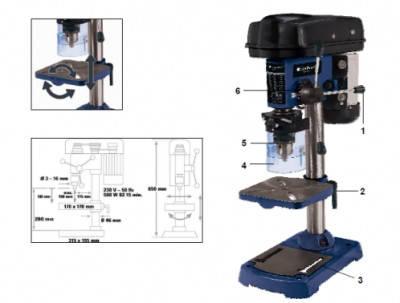 Станок сверлильный, 500 Вт, сверло 3-16 мм, вылет 115 мм Einhell Blue BT-BD 501 4250530, фото 2