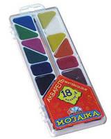 Краски акварель медовые ГАММА Мозаика 312057, 18 цветов, с/кист.