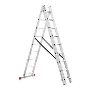 Лестница алюминиевая 3-х секционная универсальная раскладная 3*9ступ. 5.93м INTERTOOL LT-0309, фото 2