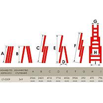 Лестница алюминиевая 3-х секционная универсальная раскладная 3*9ступ. 5.93м INTERTOOL LT-0309, фото 3