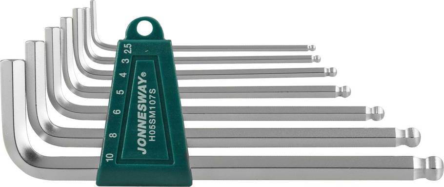 Комплект угловых шестигранников Long с шаром 2,5-10 мм, S2 материал, 7 предметов  JONNESWAY (H05SM10, фото 2