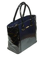 Лаковая сумка женская к/з синяя Украина