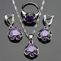 Комплект украшений из серебра с фиолетовым аметистом