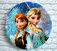 """Праздничные одноразовые бумажные тарелки """"Frozen"""", диаметр 18 см"""