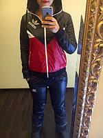 Костюм женский спортивный из плащевки теплый Adidas P3577