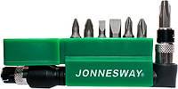 """Комплект вставок PH(123) PZ(12) и шлиц 4-7 мм 1/4""""DR, 8 предметов JONNESWAY (S08H208S)"""