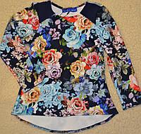 Туника из фактурного трикотажа с ярким цветочным  принтом,рост 104-128