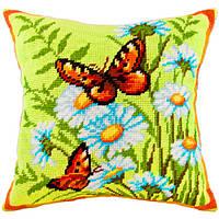 Набор для вышивки подушки Чарівниця V-68 Крапивницы на ромашках