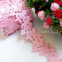 """Ажурная лента """"Роза"""" 4 см, розовый"""