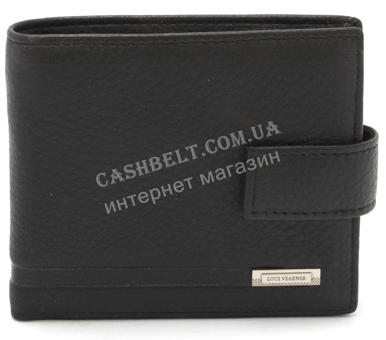 Кожаный стильный гладкий и прочный мужской кошелек LOUI VEARNER art. LOU092-591A черный