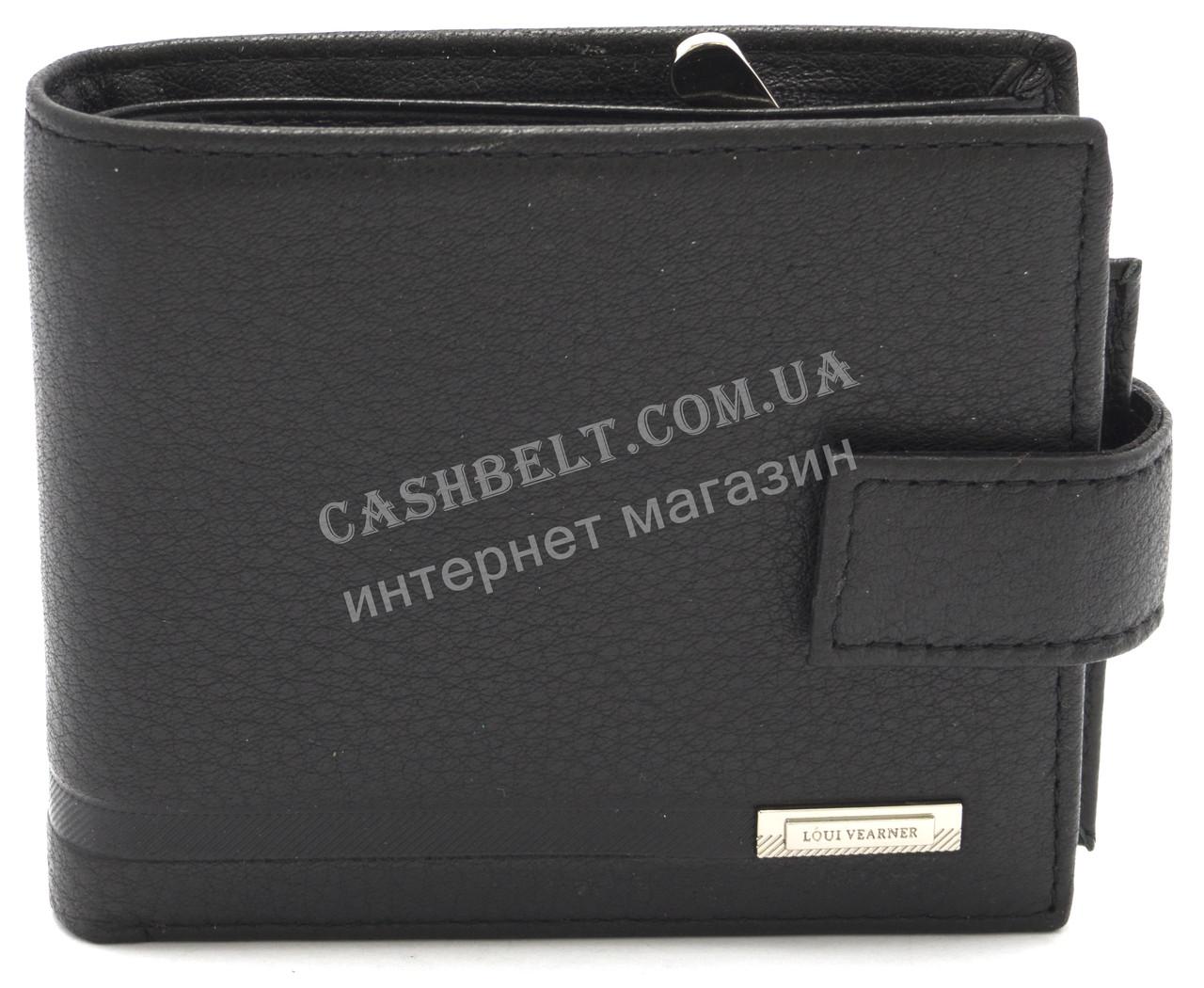 Кожаный стильный гладкий и прочный мужской кошелек с визитницей LOUI VEARNER art. LOU092-594A черный