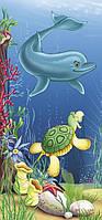 Фотообои бумажные на стену 96*210 см 6 листов: Детские, Дельфинчик