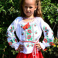 Красивая вышиванка с маками для девочки, фото 1