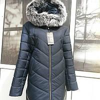 Зимняя  женская куртка  с натуральным мехом меллированного песца в стиле американка
