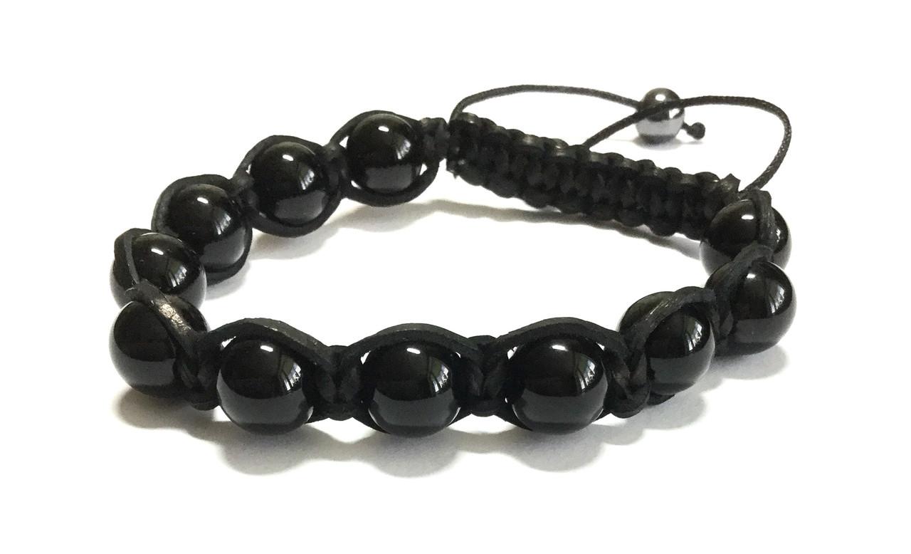 Мужской кожаный браслет из турмалина черного