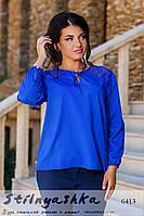 Женская шифоновая блузка большого размера индиго
