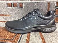 Подростковые мужские кроссовки в стиле ECCO BIOM FJUEL кожа черные на серой  подошве 407260e8cfaea
