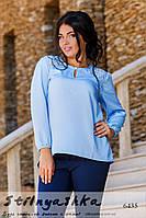 Женская шифоновая блузка большого размера голубая