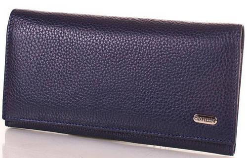 Женский синий кожаный кошелек CANPELLINI (КАНПЕЛЛИНИ) SHI346-6FL