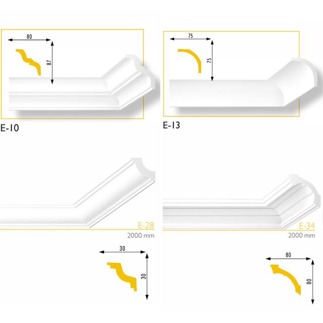 Потолочные плинтуса без узора - экструдированные