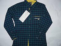 Рубашка приталенная в клеточку для мальчиков  9-14