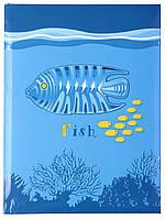 Блокнот  Дитяча серія , А6, обкл. - карт./порол., 80 арк., кліт.,  Риба O20326-11