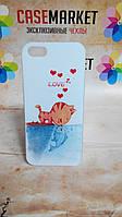 Пластиковый бампер чехол для iPhone 5/5S с рисунком Кот с рыбкой