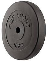Блин, диск для штанги 10 кг битумный