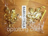 Новогодние украшения на елку Ангелочек золотой 9 см