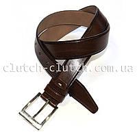 Ремень для брюк LMi 35 мм эко кожа темно-коричневый с перфорацией
