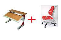 Комплект детской мебели  KD-333  с красными вставками без кабинета и 618 кресло красное жуки