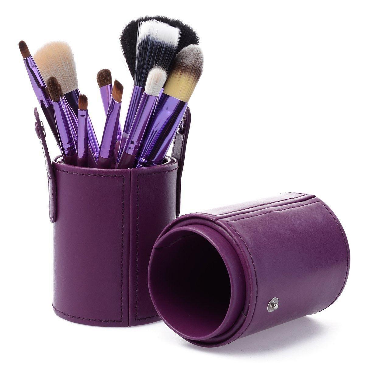 Набір кистей MAC 12 штук Фіолетові в тубусі