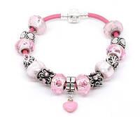 Браслет Pandora  (Пандора). Розовые шармы.