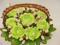 """Букет из конфет""""Корзина салатовых роз в переплете""""№9, фото 1"""