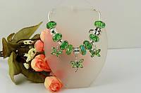 Браслет Pandora  (Пандора). Красивое зеленое муранское стекло.