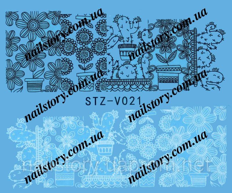 Водные наклейки для ногтей STZ021