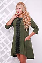 Сукня Мілана з мереживом оливкова 48 р