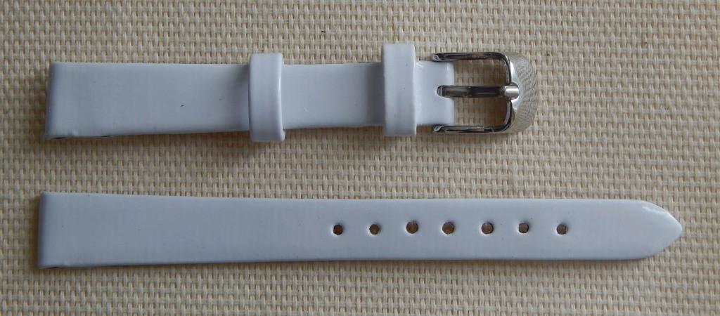 14 мм. Ремінець шкіряний Verona (Італія) Білий лак
