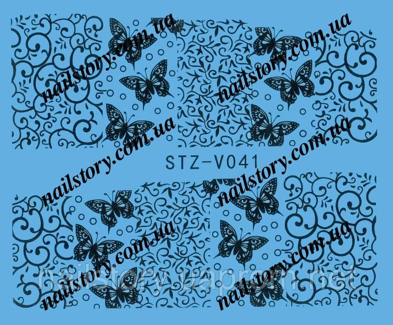 Водные наклейки для ногтей STZ041