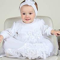 Крестильная рубашка-платье Нарядное (Бархатная) от Miminobaby от 3 до 6 месяцев
